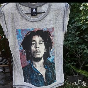 ZION ROOTSWEAR BOB MARLEY BURNOUT ROLLED SLEEVE SM